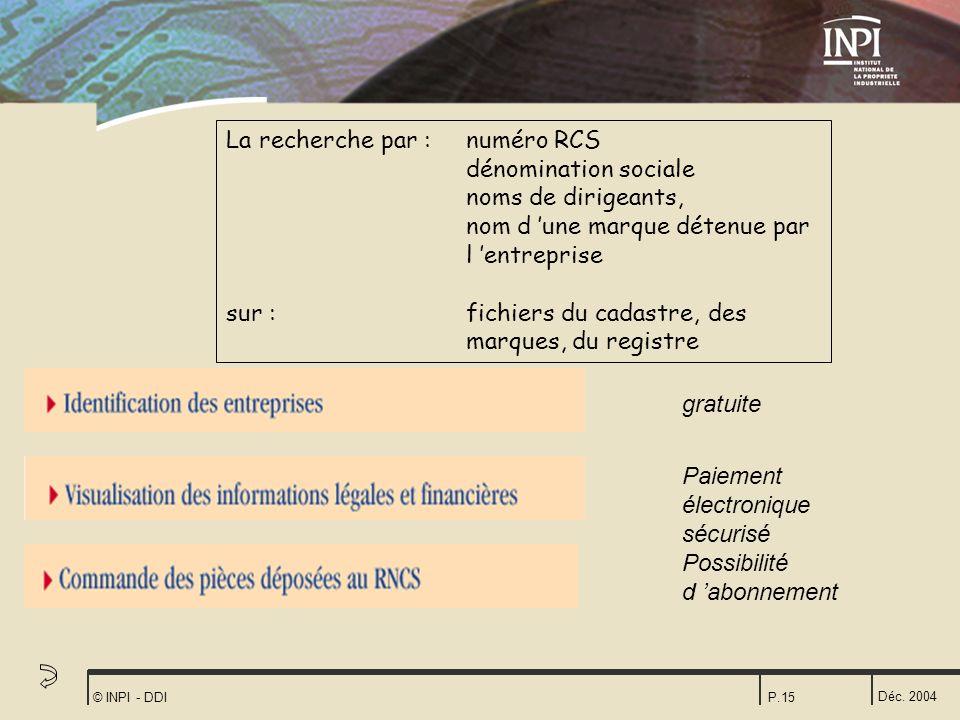 Déc. 2004 © INPI - DDIP.15 La recherche par :numéro RCS dénomination sociale noms de dirigeants, nom d une marque détenue par l entreprise sur : fichi