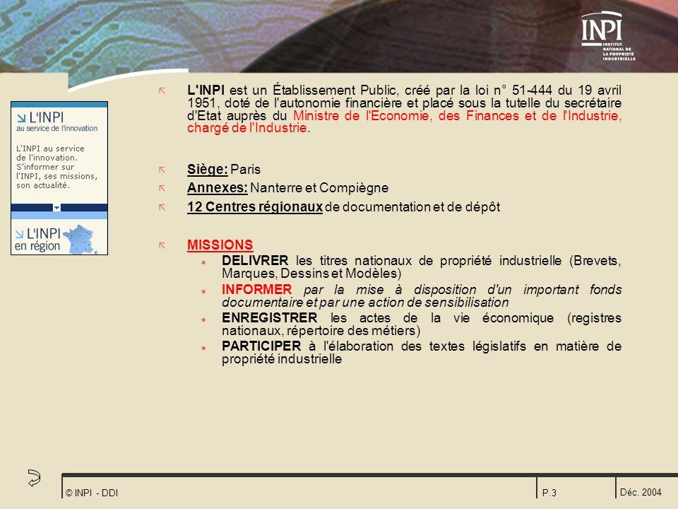 Déc. 2004 © INPI - DDIP.3 ã L'INPI est un Établissement Public, créé par la loi n° 51-444 du 19 avril 1951, doté de l'autonomie financière et placé so