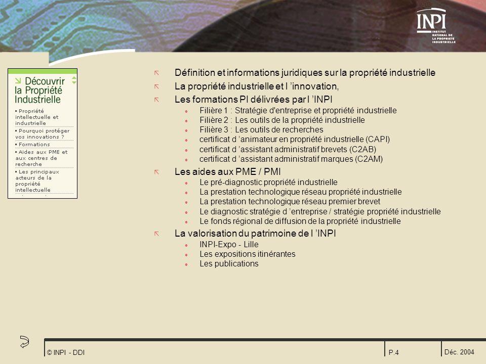 Déc. 2004 © INPI - DDIP.4 ã Définition et informations juridiques sur la propriété industrielle ã La propriété industrielle et l innovation, ã Les for