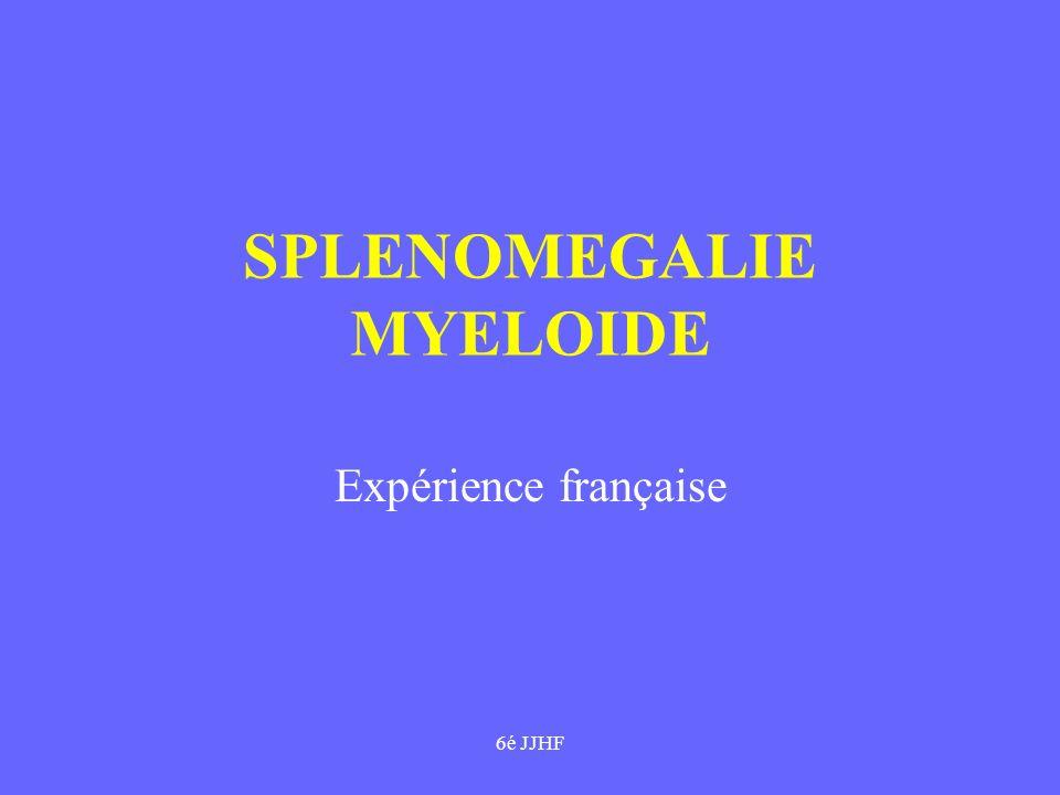 6é JJHF SPLENOMEGALIE MYELOIDE Nombreux synonymes Rare:1pour 3-5 LMC(2 cas/M/an) Mediane âge : 60 ans Mediane survie : 5 ans / polymorphe ttt décevant Physiopath complexe