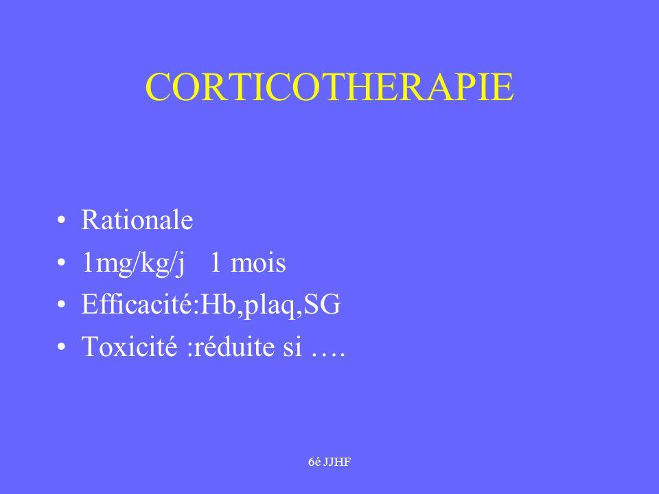6é JJHF CORTICOTHERAPIE Rationale 1mg/kg/j 1 mois Efficacité:Hb,plaq,SG Toxicité :réduite si ….