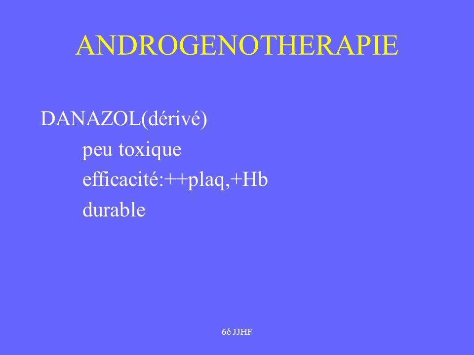 6é JJHF ANDROGENOTHERAPIE DANAZOL(dérivé) peu toxique efficacité:++plaq,+Hb durable