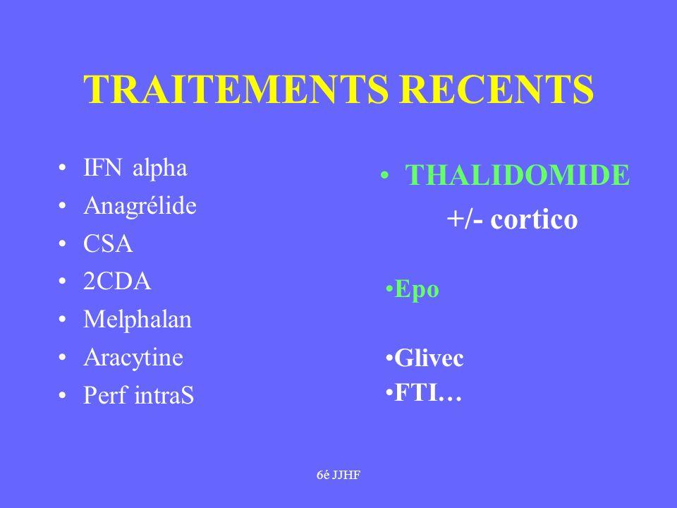 6é JJHF TRAITEMENTS RECENTS IFN alpha Anagrélide CSA 2CDA Melphalan Aracytine Perf intraS THALIDOMIDE +/- cortico Epo Glivec FTI…
