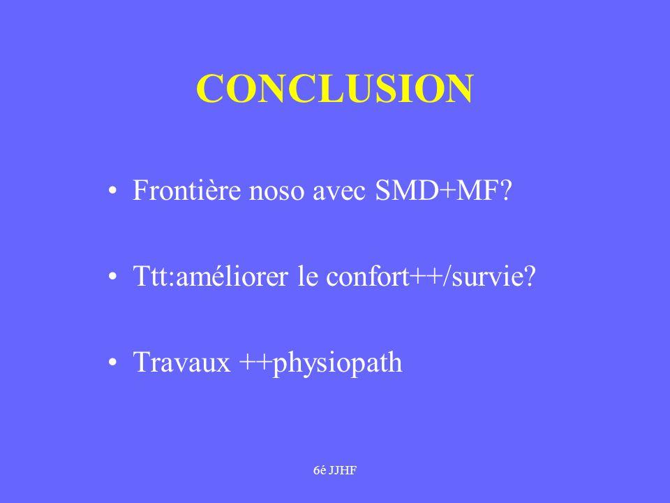 6é JJHF CONCLUSION Frontière noso avec SMD+MF? Ttt:améliorer le confort++/survie? Travaux ++physiopath