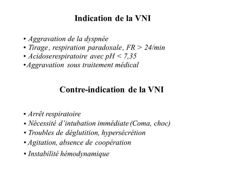 Aggravation de la dyspnée Tirage, respirationparadoxale, FR > 24/min Acidoserespiratoireavec pH < 7,35 Aggravationsous traitement médical Arrêt respir