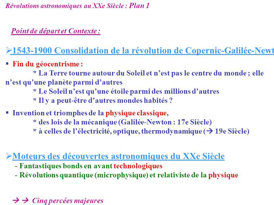 Révolutions astronomiques au XXe Siècle : Plan 2 Cinq Percées majeures : Emergence de la notion de galaxies 1920 Expansion de lUnivers modèle du Big Bang 1930 – 1960 ….