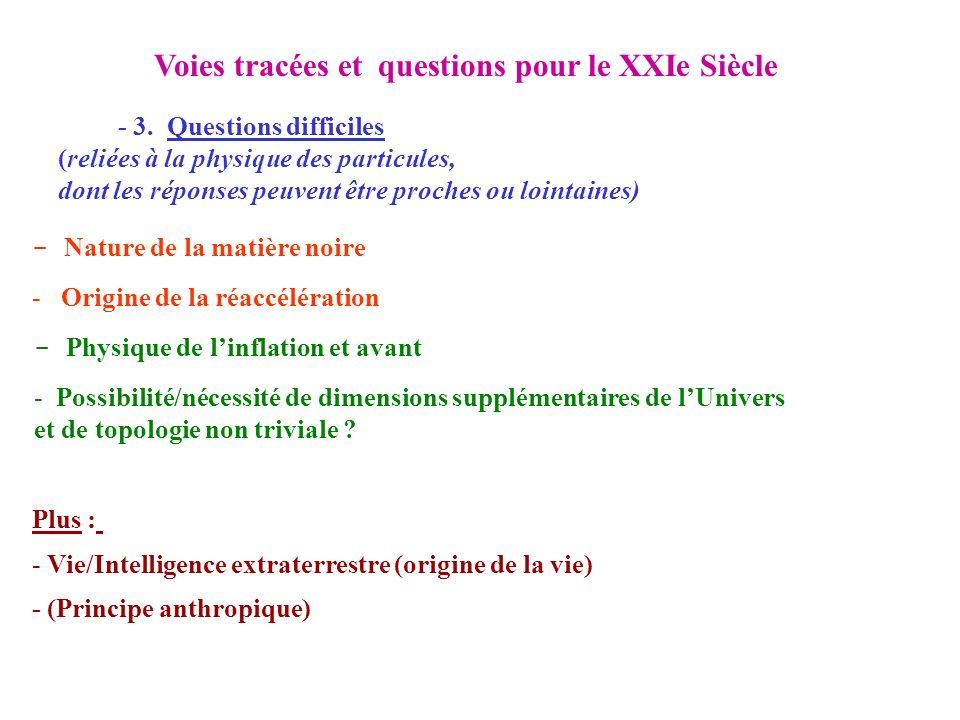 Voies tracées et questions pour le XXIe Siècle - 3. Questions difficiles (reliées à la physique des particules, dont les réponses peuvent être proches