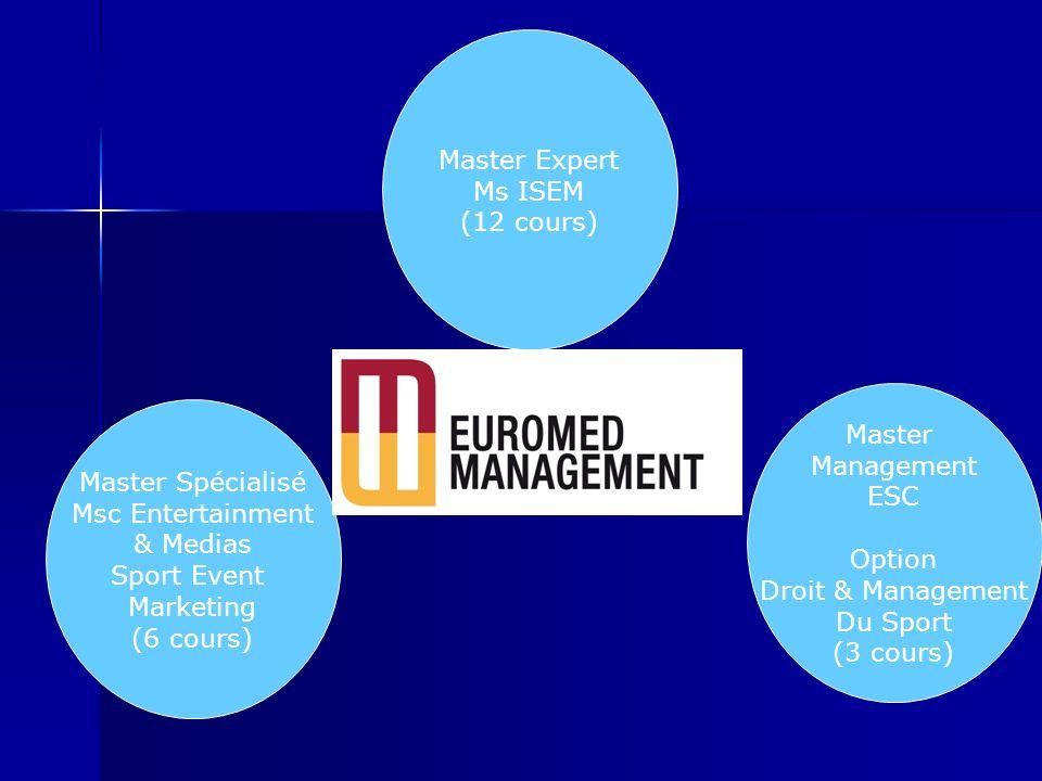Master Expert Ms ISEM (12 cours) Master Spécialisé Msc Entertainment & Medias Sport Event Marketing (6 cours) Master Management ESC Option Droit & Man