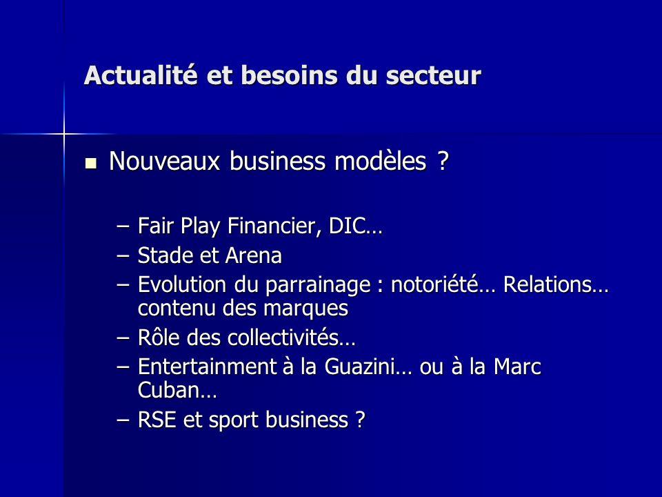 Actualité et besoins du secteur Nouveaux business modèles ? Nouveaux business modèles ? –Fair Play Financier, DIC… –Stade et Arena –Evolution du parra