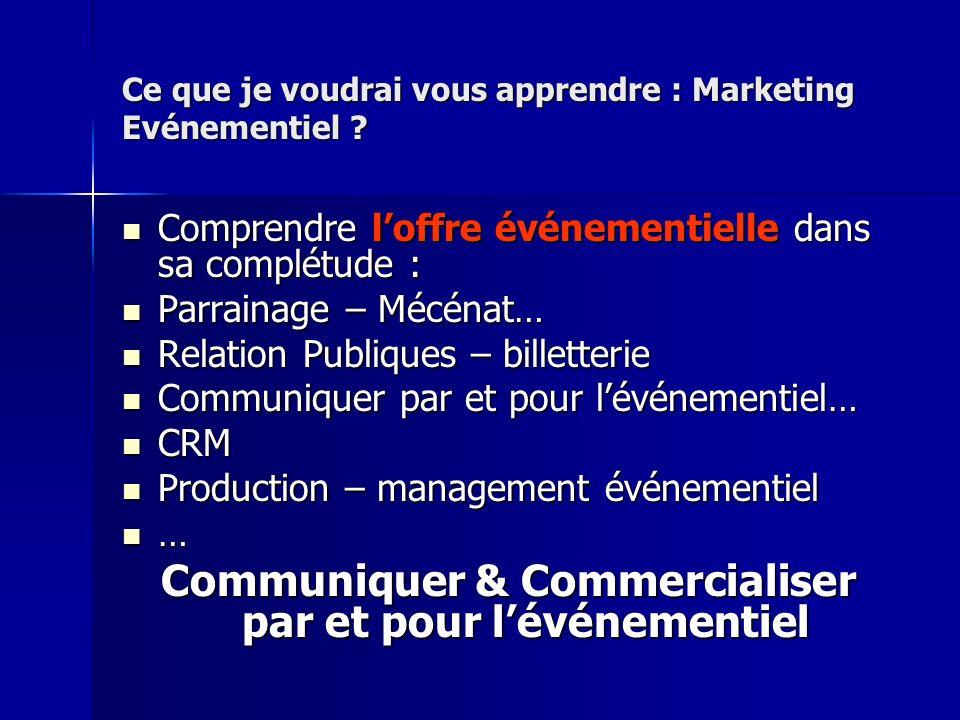 Ce que je voudrai vous apprendre : Marketing Evénementiel ? Comprendre loffre événementielle dans sa complétude : Comprendre loffre événementielle dan