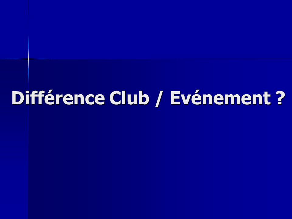Différence Club / Evénement ?
