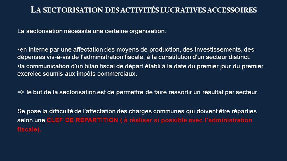 L A SECTORISATION DES ACTIVITÉS LUCRATIVES ACCESSOIRES La sectorisation nécessite une certaine organisation: en interne par une affectation des moyens