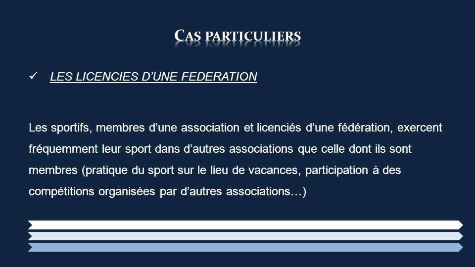 LES LICENCIES DUNE FEDERATION Les sportifs, membres dune association et licenciés dune fédération, exercent fréquemment leur sport dans dautres associ
