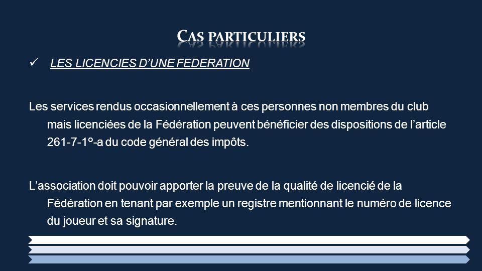 LES LICENCIES DUNE FEDERATION Les services rendus occasionnellement à ces personnes non membres du club mais licenciées de la Fédération peuvent bénéf