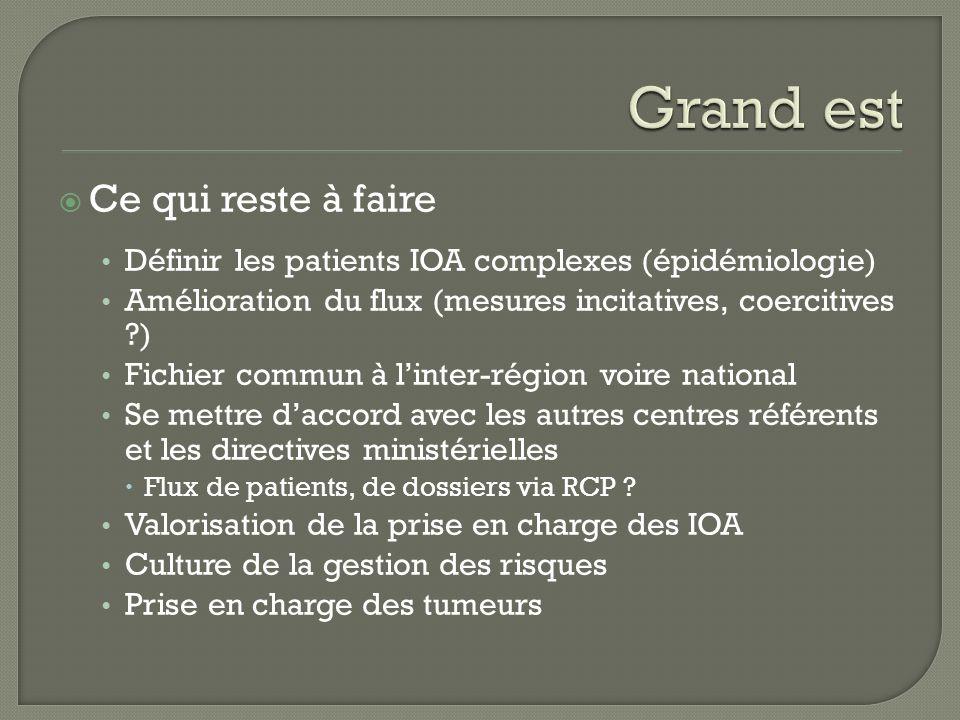 Ce qui reste à faire Définir les patients IOA complexes (épidémiologie) Amélioration du flux (mesures incitatives, coercitives ?) Fichier commun à lin