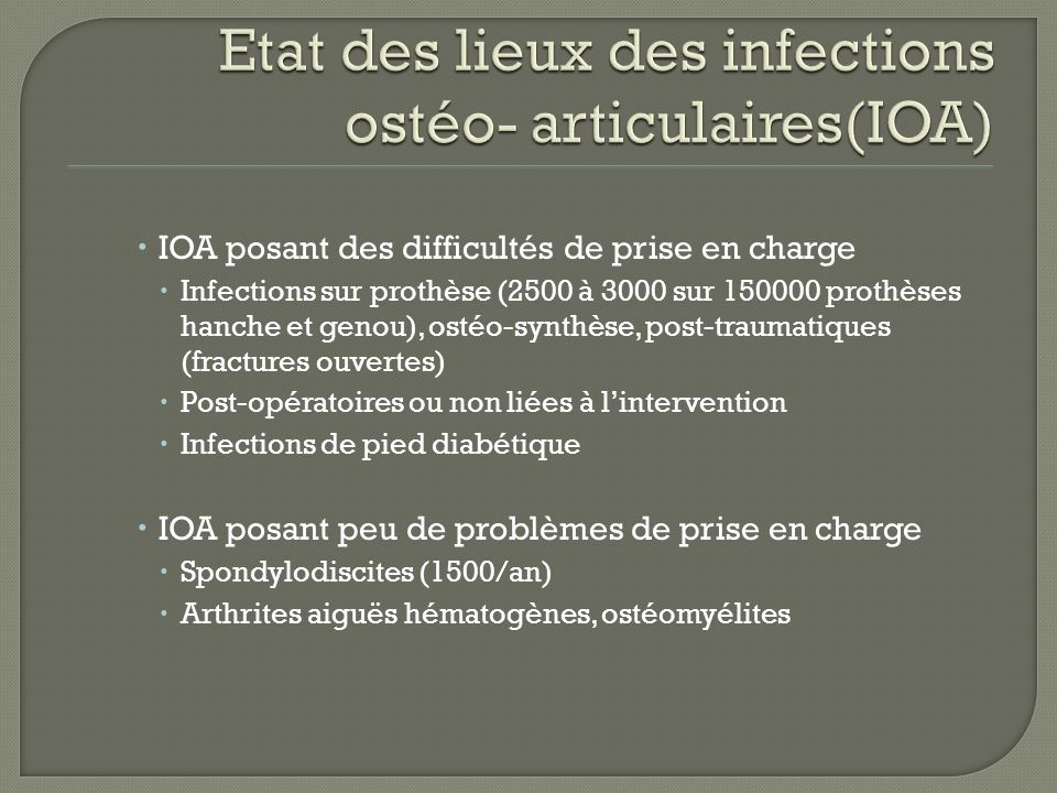 IOA posant des difficultés de prise en charge Infections sur prothèse (2500 à 3000 sur 150000 prothèses hanche et genou), ostéo-synthèse, post-traumat