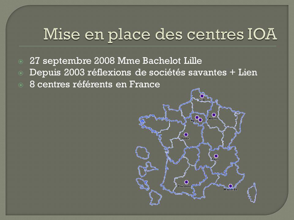 27 septembre 2008 Mme Bachelot Lille Depuis 2003 réflexions de sociétés savantes + Lien 8 centres référents en France
