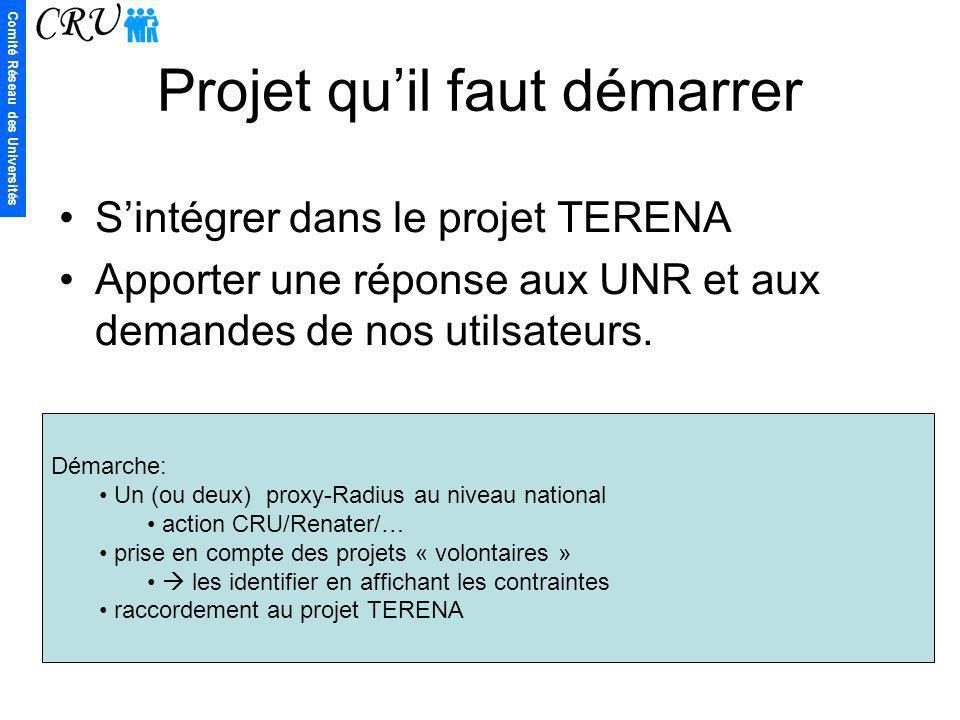 Comité Réseau des Universités Projet quil faut démarrer Sintégrer dans le projet TERENA Apporter une réponse aux UNR et aux demandes de nos utilsateur