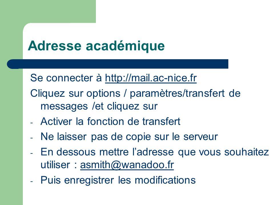 Adresse académique Se connecter à http://mail.ac-nice.frhttp://mail.ac-nice.fr Cliquez sur options / paramètres/transfert de messages /et cliquez sur