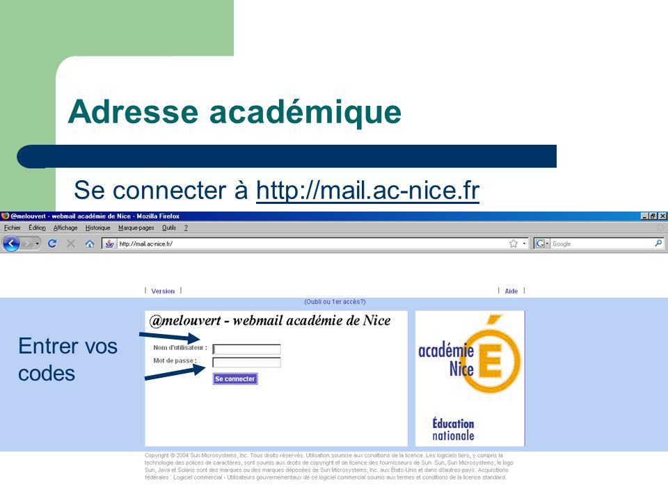 Adresse académique Se connecter à http://mail.ac-nice.frhttp://mail.ac-nice.fr Entrer vos codes