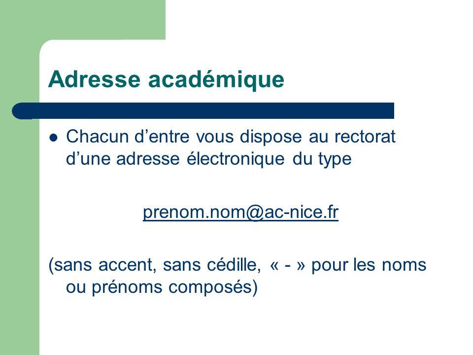 Adresse académique Pour accéder à votre messagerie Se connecter à http://mail.ac-nice.frhttp://mail.ac-nice.fr Nom utilisateur (uid): ex adam smith : asmith Mot de passe : NUMEN (ou code si vous lavez changé)