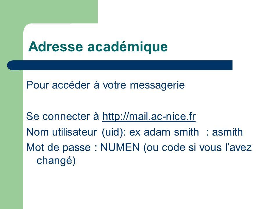 Adresse académique Se connecter à http://mail.ac-nice.frhttp://mail.ac-nice.fr Nom utilisateur (uid): ex adam smith : asmith Mot de passe : NUMEN (ou code si a été changé)