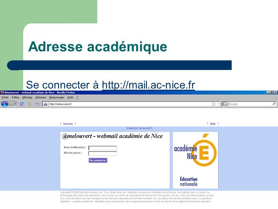 Adresse académique Se connecter à http://mail.ac-nice.frhttp://mail.ac-nice.fr Nom utilisateur (uid): ex adam smith : asmith Mot de passe : NUMEN (ou