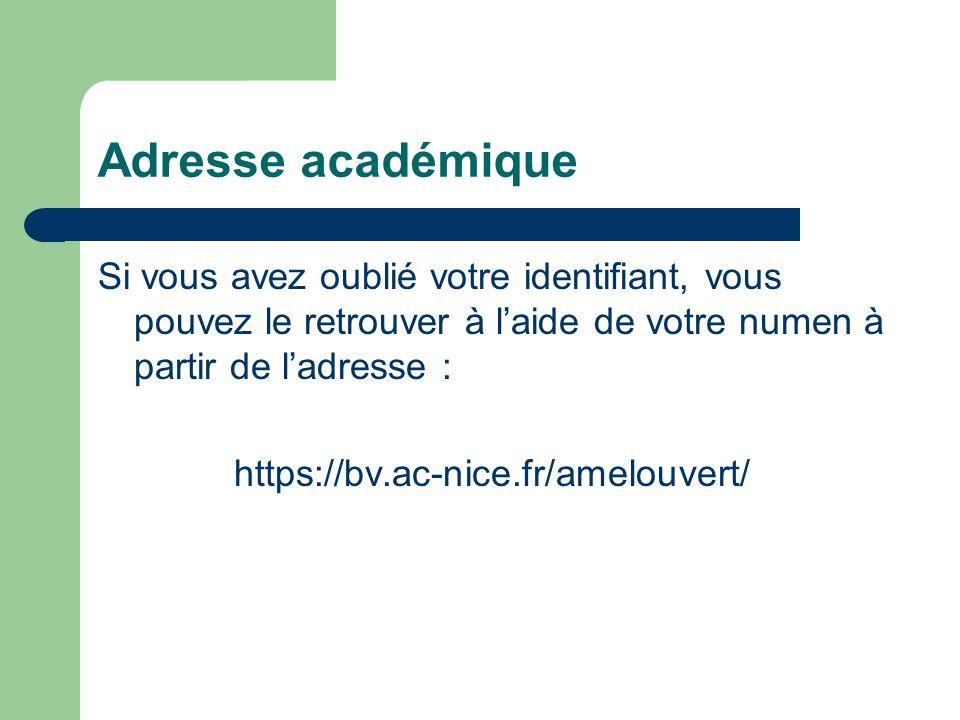 Adresse académique Vous pouvez retrouver votre identifiant à laide de votre numen à partir de ladresse : https://bv.ac-nice.fr/amelouvert/ Cliquer dessus et suivre la procédure