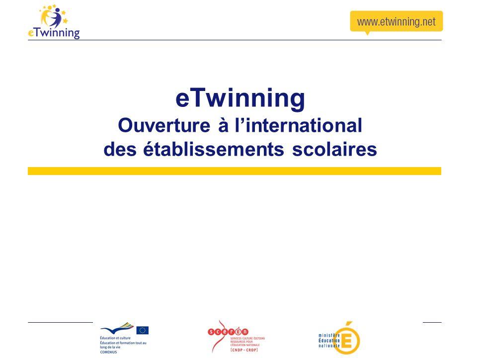 eTwinning Action européenne encourageant les projets déchange à distance Accompagnement des enseignants dans leurs projets Mise à disposition doutils et de formations Ouvert à toute discipline en primaire et secondaire