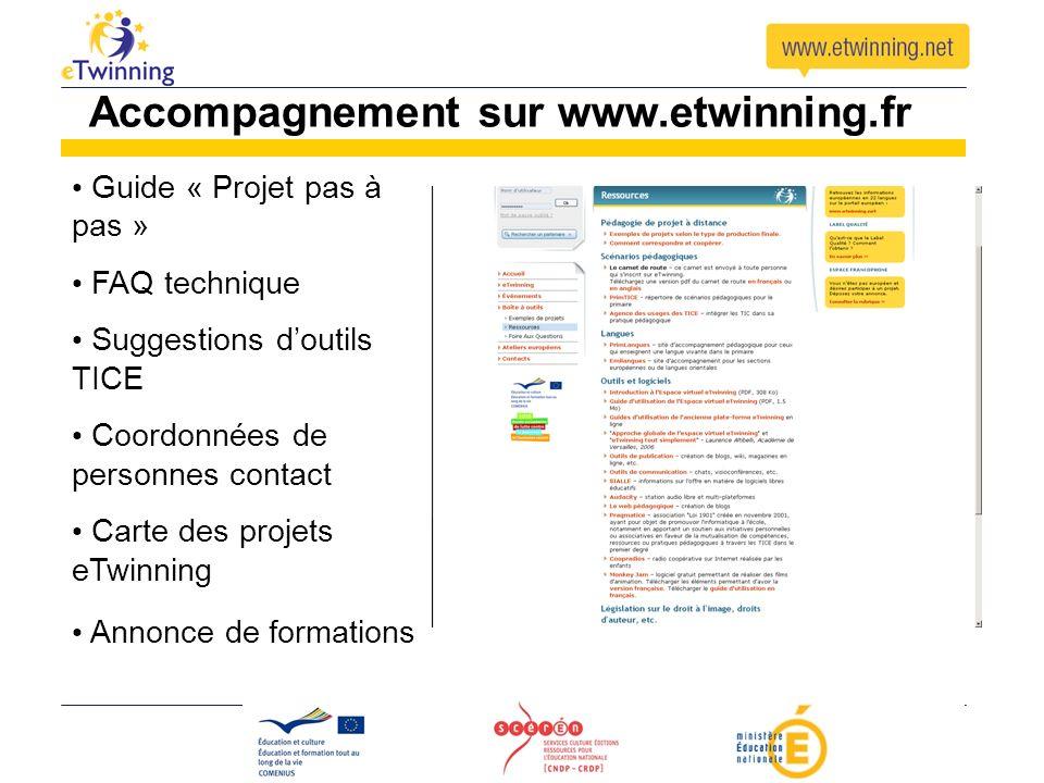 Guide « Projet pas à pas » FAQ technique Suggestions doutils TICE Coordonnées de personnes contact Carte des projets eTwinning Annonce de formations A