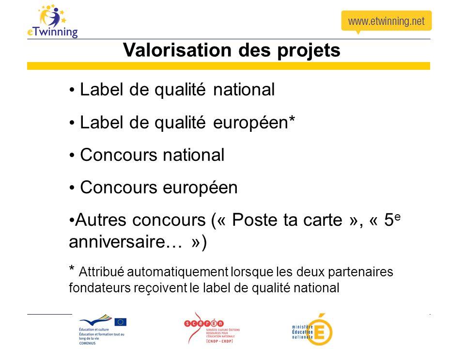 Valorisation des projets Label de qualité national Label de qualité européen* Concours national Concours européen Autres concours (« Poste ta carte »,