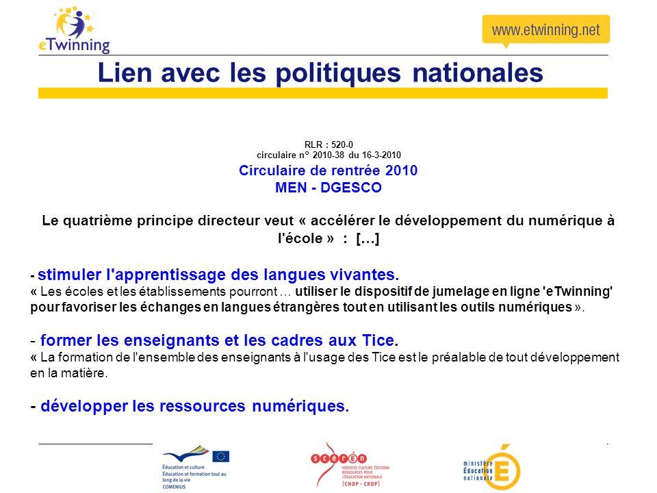 RLR : 520-0 circulaire n° 2010-38 du 16-3-2010 Circulaire de rentrée 2010 MEN - DGESCO Le quatrième principe directeur veut « accélérer le développeme
