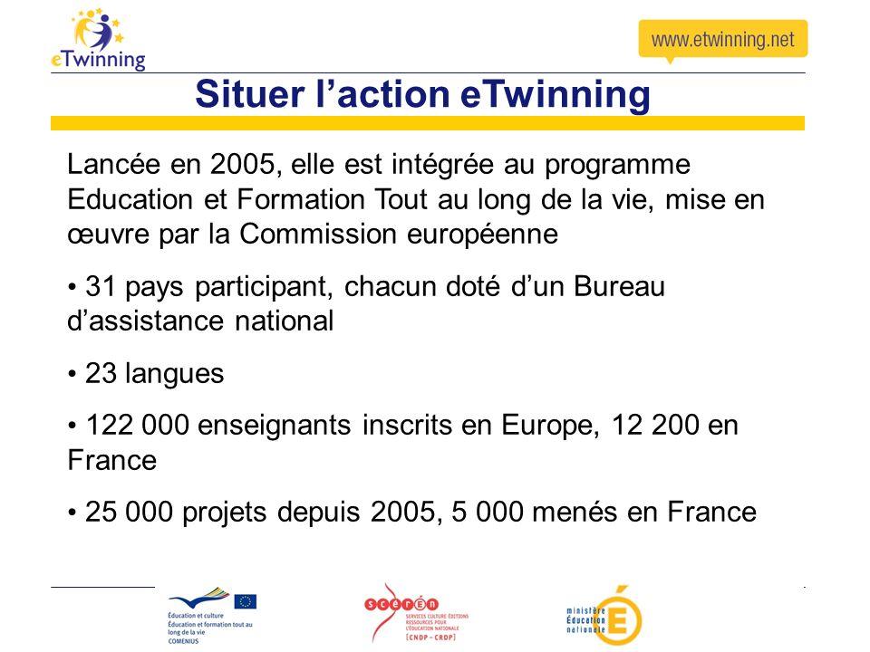 Situer laction eTwinning Lancée en 2005, elle est intégrée au programme Education et Formation Tout au long de la vie, mise en œuvre par la Commission