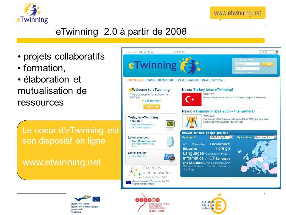 Le coeur deTwinning est son dispositif en ligne www.etwinning.net eTwinning 2.0 à partir de 2008 projets collaboratifs formation, élaboration et mutua