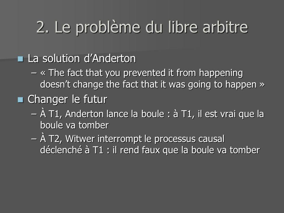 2. Le problème du libre arbitre La solution dAnderton La solution dAnderton –« The fact that you prevented it from happening doesnt change the fact th