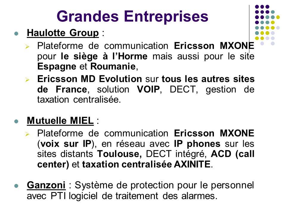 Administrations Saint Etienne Métropole : Autocommutateurs Alcatel 4200/4400, Autocommutateurs Ericsson MD Evolution.