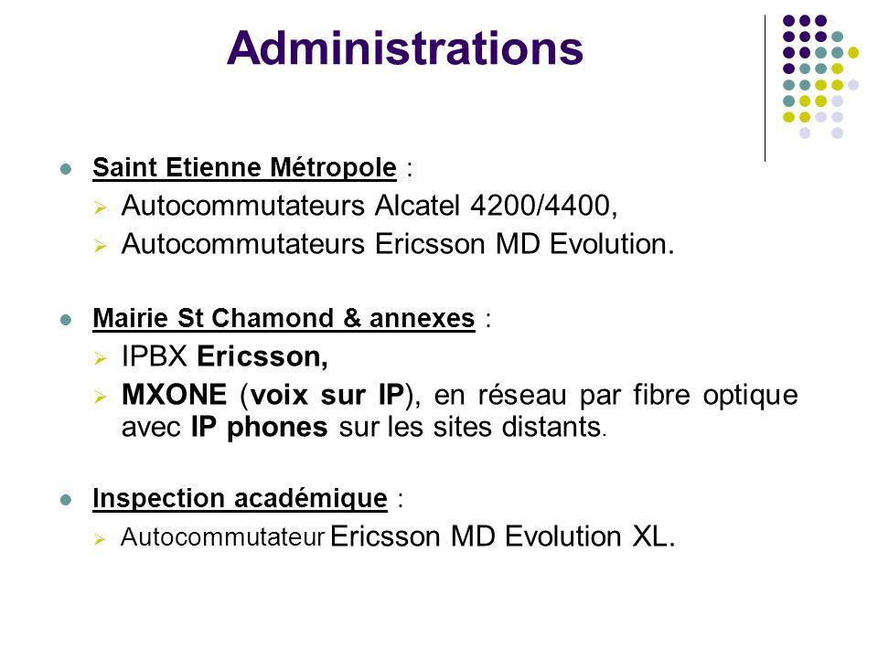 Administrations Saint Etienne Métropole : Autocommutateurs Alcatel 4200/4400, Autocommutateurs Ericsson MD Evolution. Mairie St Chamond & annexes : IP
