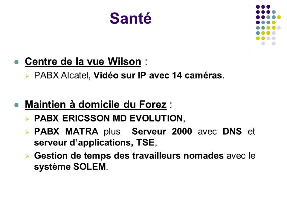 Santé Centre de la vue Wilson : PABX Alcatel, Vidéo sur IP avec 14 caméras. Maintien à domicile du Forez : PABX ERICSSON MD EVOLUTION, PABX MATRA plus