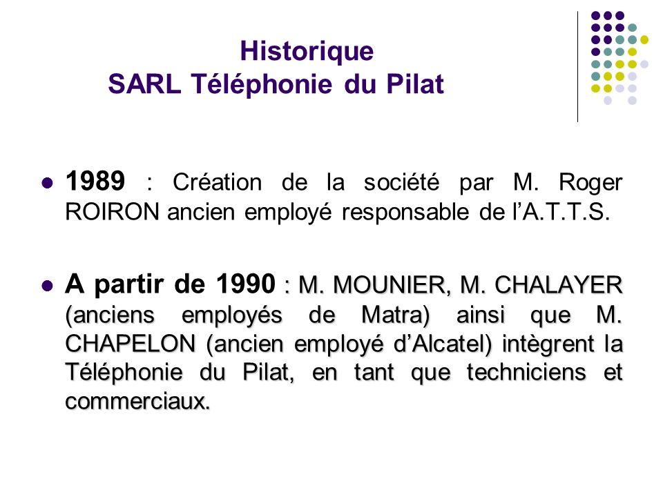 Historique SARL Téléphonie du Pilat 1989 : Création de la société par M. Roger ROIRON ancien employé responsable de lA.T.T.S. : M. MOUNIER, M. CHALAYE