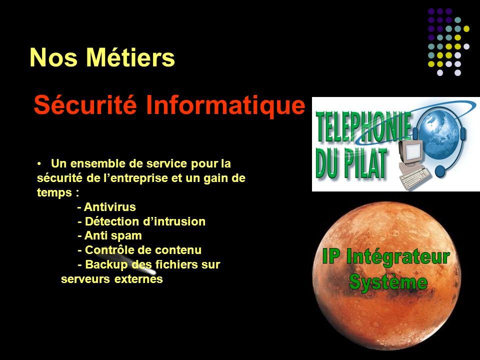 Nos Métiers Sécurité Informatique Un ensemble de service pour la sécurité de lentreprise et un gain de temps : - Antivirus - Détection dintrusion - An