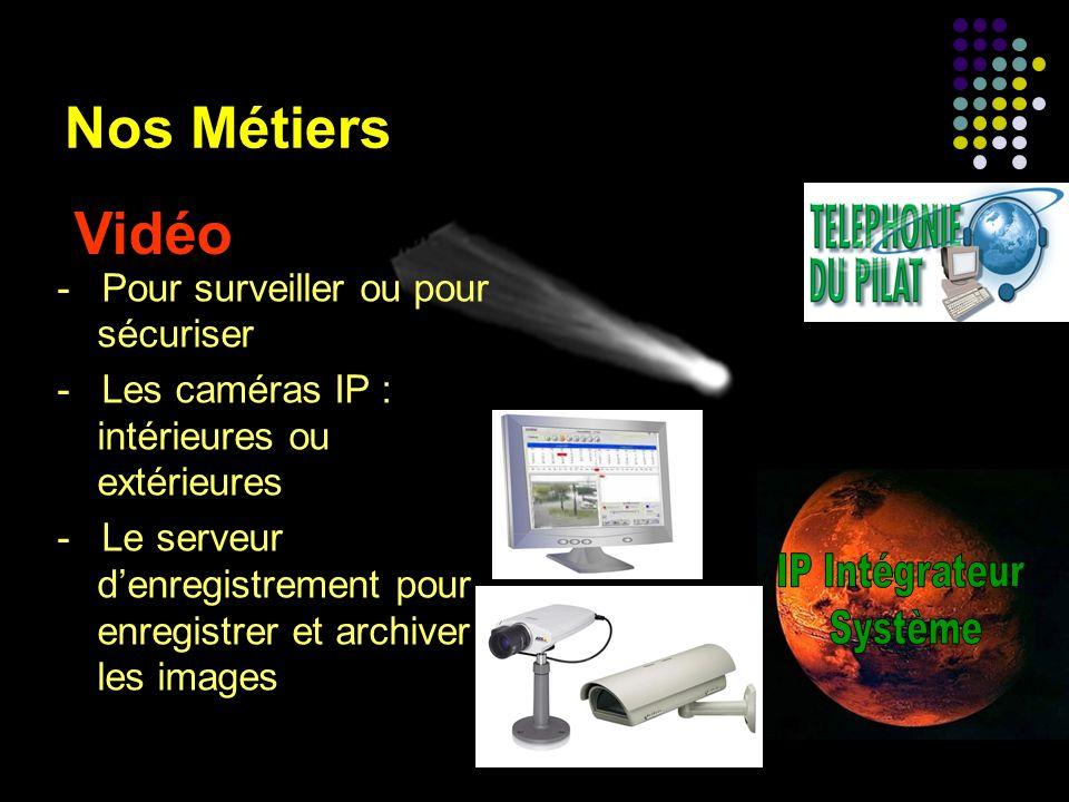 Nos Métiers Vidéo - Pour surveiller ou pour sécuriser - Les caméras IP : intérieures ou extérieures - Le serveur denregistrement pour enregistrer et a
