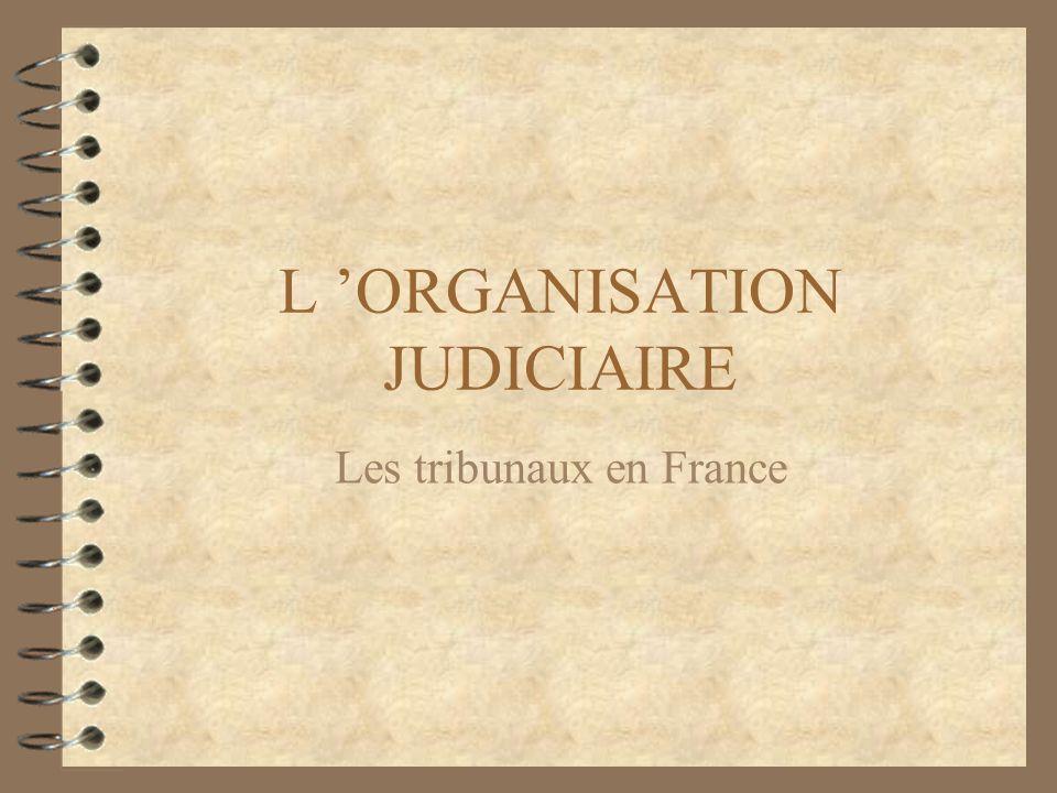 L ORGANISATION JUDICIAIRE Les tribunaux en France