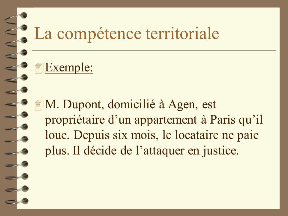 La compétence territoriale 4 Exemple: 4 M. Dupont, domicilié à Agen, est propriétaire dun appartement à Paris quil loue. Depuis six mois, le locataire