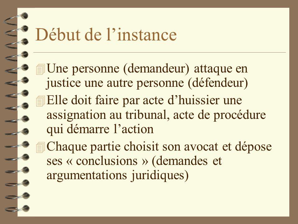 Début de linstance 4 Une personne (demandeur) attaque en justice une autre personne (défendeur) 4 Elle doit faire par acte dhuissier une assignation a