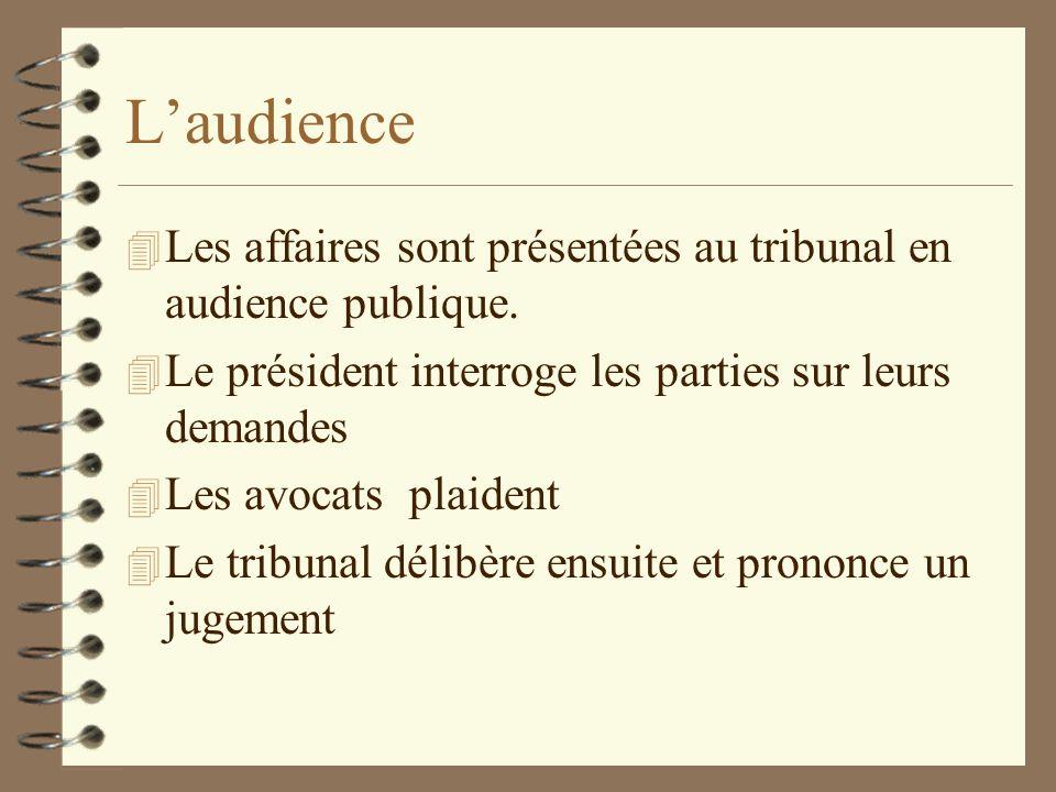 Laudience 4 Les affaires sont présentées au tribunal en audience publique. 4 Le président interroge les parties sur leurs demandes 4 Les avocats plaid