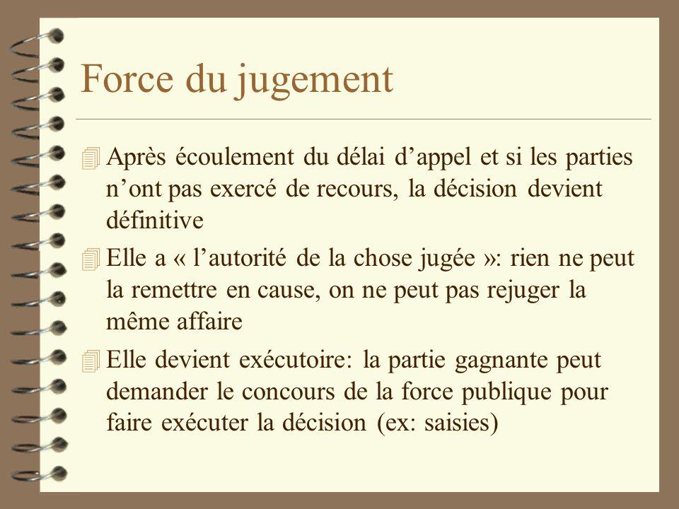 Force du jugement 4 Après écoulement du délai dappel et si les parties nont pas exercé de recours, la décision devient définitive 4 Elle a « lautorité
