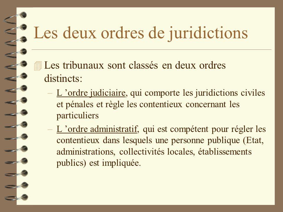 Les deux ordres de juridictions 4 Les tribunaux sont classés en deux ordres distincts: –L ordre judiciaire, qui comporte les juridictions civiles et p