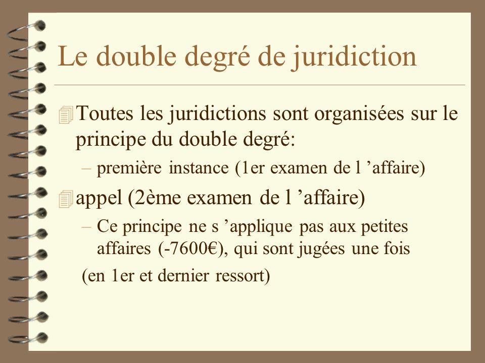 Le double degré de juridiction 4 Toutes les juridictions sont organisées sur le principe du double degré: –première instance (1er examen de l affaire)