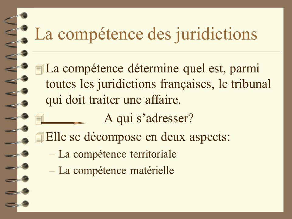 La compétence des juridictions 4 La compétence détermine quel est, parmi toutes les juridictions françaises, le tribunal qui doit traiter une affaire.