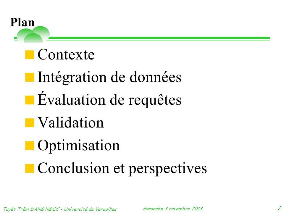 dimanche 3 novembre 2013 Tuyêt Trâm DANG NGOC - Université de Versailles 2 Contexte Intégration de données Évaluation de requêtes Validation Optimisat